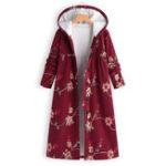 New Plus Size Floral Print Fleece Hooded Long Coats