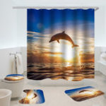 New Dolphin Pattern Shower Curtain Waterproof Fabric Bath Accessory 3D Printing Ocean Curtain for Bathroom Green