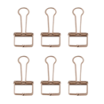 New 6Pcs Deli 9415 Rose Gold Binder Clip for Office School Paper Organizer Stationery Metal Clips