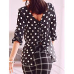 New Women Elegant Polka Dot Split Hem Blouse