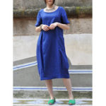 New Women Cotton Solid Color Short Sleeve Crew Neck Dress