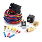 New Heavy Duty Electric Fan Wiring Install Complete Kit Thermostat Sensor 40A Relay