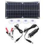 New 370*190*10mm 10W 18V/5V DC 600mAh IP0131 Matte PET Single Crystal Solar Panel with Crocodile Clip