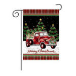 New Merry Christmas Decorations Red Truck With Gifts Double Sided Winter Garden Flag