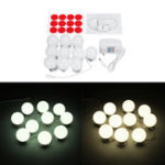 New 10PCS US Plug Hollywood Style LED Vanity Mirror Makeup Dressing Table Light Kit + Dimmer Controller