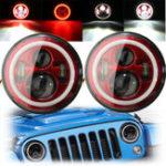 New 7Inch LED Hi-Lo Beam Headlights Halo Angle Eyes White DRL Red Turn Light 2Pcs for Wrangler