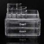 New 2 Drawers Acrylic Clear Makeup Cosmetic Organizer Display Storage Case Jewelry Box Rack