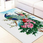 New Peacock Flower Area Floor Rug Carpet For Bedroom Living Room Home Mat Decoration