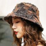 New Women Plaid Cotton Bucket Hat Wide Brimmed Fisherman Cap
