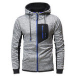 New Mens Fashion Zipper Decoration Hooded Casual Sweatshirt