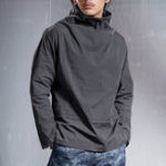 New Mens Casual High Collar Fit Solid Color Long Sleeve T-shirts