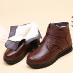 New Genuine Leather  Warm Fur Plush Women Winter Snow Boots