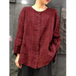 New Women Vintage Loose Crew Neck Long Sleeve Plaid Blouse