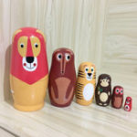 New 6PCS/Set Wooden Animal Paint Nesting Dolls Decorations Russian Doll Matryoshka Hand Paint Toys Home Decoration Gifts