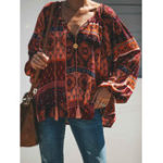 New Women Boho Printed V-neck Long Sleeve Blouse