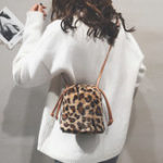 New Leopard Print Plush Bucket Bag Shoulder Bag For Women
