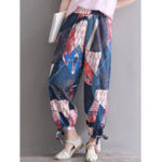 New Women Floral Print Elastic Waist Casual Pockets Pants