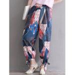 New Women Floral Print Elastic Waist Casual Pockets Pants