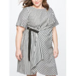 New Plus Size Women Short Sleeve Striped Tied Loose Dress