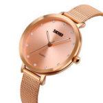 New SKMEI 1291 Crystal Ultra Thin Dial Full Steel Quartz Watches