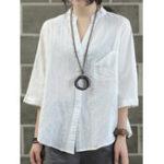 New Plus Size Vintage V-neck 3/4 Sleeve Loose Women Blouse
