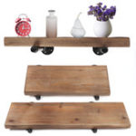 New 24/36 Inch DIY Industrial Pipe Wooden Floating Shelf Rustic Wall Storage Shelf Bracket Shelving Rack