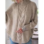 New Women Solid Color Irregular Hem Bat Sleeve Knit Sweaters