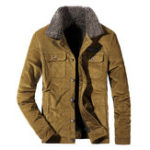 New Men Corduroy Thick Warm Turn-Down Fleece Collar Jackets Coat