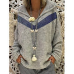New Women Casual Hooded Knitted V-Neck Long Sleeve Sweaters