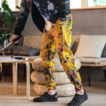New Chinese Style Ethnic Floral Printing Folk-custom Chic Pants