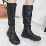 New Winter Warm Comfy Pure Color Zipper Mid Calf Boots