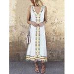 New Plus Size Boho Women V-neck Sleeveless Tassel Dress