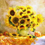 New 30 x 30 5D Diamond Decorations Flowers Colorful Sunflower Painting DIY Crystal Square Paintings 3D Cross Stitch Kit Mosaic Round Rhinestone
