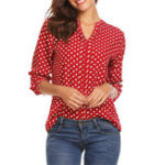 New S-5XL Polka Dot V-neck Long Sleeve Women Blouse