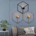 New 3D Geometric Nordic Style Candle Holder Iron Candlestick Handmade Wall Art Room Home Decor