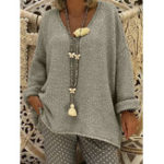 New Women Pure Color V-Neck Long Sleeve Knitted Sweaters