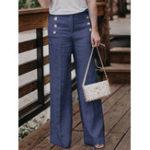 New Women Casual Cotton Linen Solid Color High Waist Button Pant