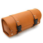 New Universal Brown PU Leather Front Rear Motorcycle Tool Bag Luggage Storage Saddlebags