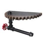 New Retro Industrial Iron Pipe Bracket Toilet Paper Holder Roller Wood Gear Mounted Wall Shelf