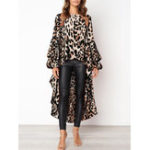New Women Leopard Print Long Sleeve Irregular Hem Blouse