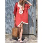 New Plus Size Boho Printed Batwing Sleeve Irregular Hem Dress