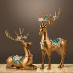 New Desktop Resin Deer Figurine Decorations Ornament Living Room Bedroom Home Decor Gifts