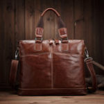 New Vintage Genuine Leather Laptop Bag Shoulder Bag For Men