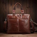 New Vintage Genuine Leather Laptop Bag Shoulder Bag For Men