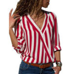 New Casual Women Striped V-Neck Long Sleeve Blouse