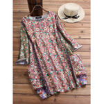 New Vintage Women Floral Print Crew Neck 3/4 Sleeve Dress