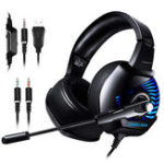 New K6 Professional Wired Gaming Headset LED RGB Lighting Headphone 3.5mm Bass Noise Cancelling With Mic