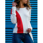 New Women Two-tone Patchwork Long Sleeve Irregular Hem T-shirts