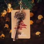 New 10Pcs Xmas Tree Ornaments Santa Magic Key Blank Tag Christmas Party Hanging Decorations