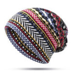 New Women Bohemian Ethnic Multi-purpose Print Beanie Hat Scarf